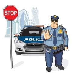 Police patrol stop sign vector