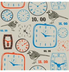 Birds with clock seamless background vector