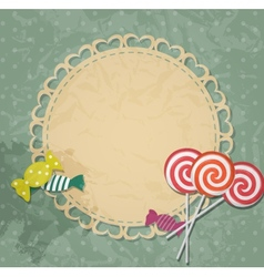 Gift card with candy design elements vector