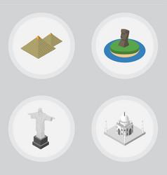 Isometric travel set of india mosque rio egypt vector