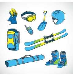 Handdrawn Colorfull Ski Icon Set vector image