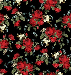 Seamless floral pattern with red roses on black vector