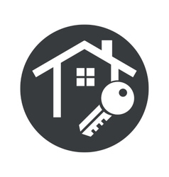 Monochrome round house key icon vector