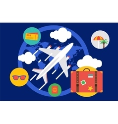Travel by the plane  summer vector