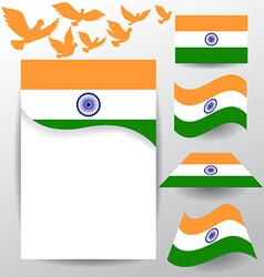 Set of india flag with flying pigeon vector