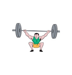 Weightlifter deadlift lifting weights cartoon vector