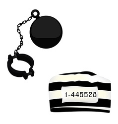 Prisoner hat and shackle vector