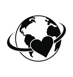 Love the earth black simple icon vector