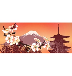 Sakura mountains vector