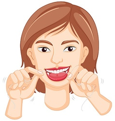 Woman flossing the teeth vector