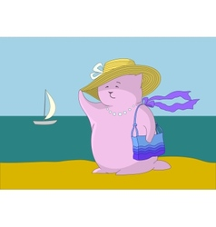 Woman - a fantastic toy animal on the beach vector