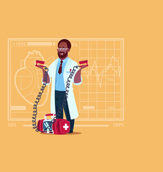 African american doctor hold defibrillator medical vector