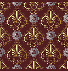 ancient grecian floral seamless pattern red vector image vector image
