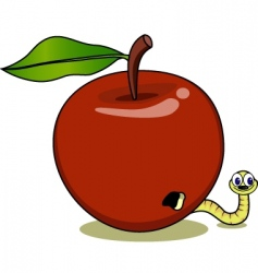 apple and maggot vector image vector image