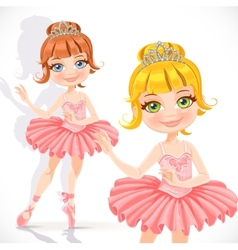 Beautiful little ballerina girl in pink dress and vector image