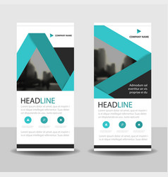 Blue label roll up business brochure flyer banner vector
