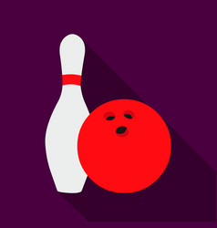 bowling icon flate single sport icon from the big vector image vector image