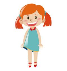 Cute girl in blue dress vector