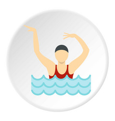 Dancing figure in a swimming pool icon circle vector