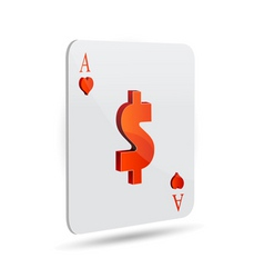 dollar sign in playing card vector image vector image