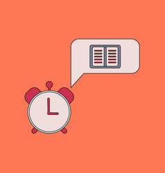 flat icon thin lines book alarm clock vector image