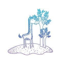 Giraffe cartoon in forest next to the trees in vector