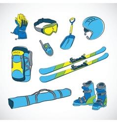 Handdrawn colorfull ski icon set vector