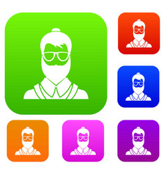hipsster man set collection vector image