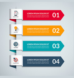 Infographic template with 4 arrows options steps vector image vector image