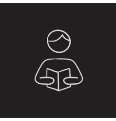 Man reading book sketch icon vector image vector image