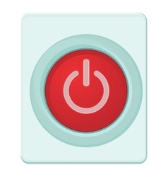 Red power on or off button icon cartoon style vector