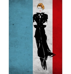 Retro fashion woman in a black suit sketch vector image