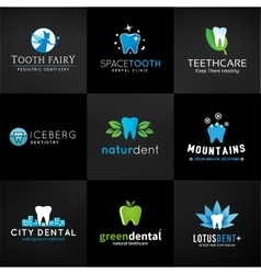 Set of dental logos tooth designs teeth vector