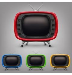 Set retro color tv vector