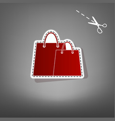 shopping bags sign red icon with for vector image