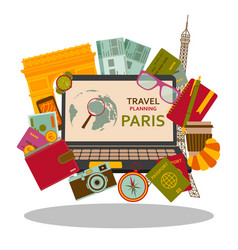 Travel planning to paris flat concept vector