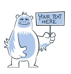 Yeti holding sign vector