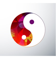 Yin yang symbol created from abstract colorful vector