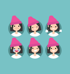 Young girl wearing pink beanie profile pics set vector