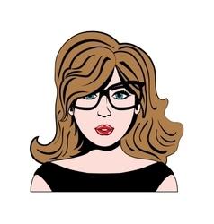 woman girl retro hair pop art icon graphic vector image