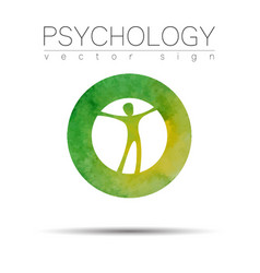 Modern man sign of psychology human in a circle vector