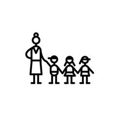 Group educator and three kids symbol kindergarten vector