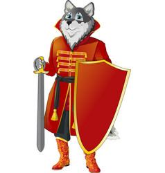 Wolf with shield and sword vector