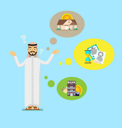arabian businessman think about investing vector image