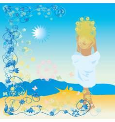 woman on sea vector image