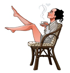 Cartoon girl sitting on a chair holding a cup vector