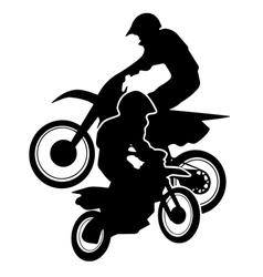 Motocross dirt bikes silhouette vector