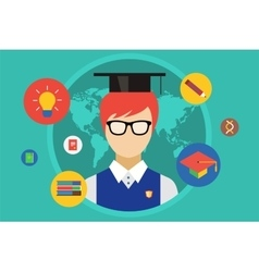 Student and university objects vector