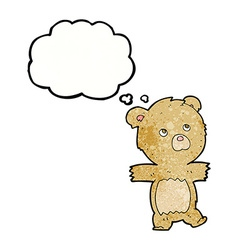 Cartoon cute teddy bear with thought bubble vector