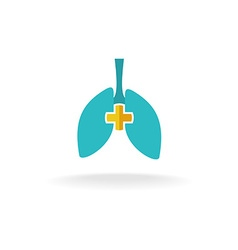 Lungs medical logo with rounded cross vector